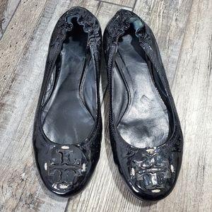 Tory burch black patent leather flatts